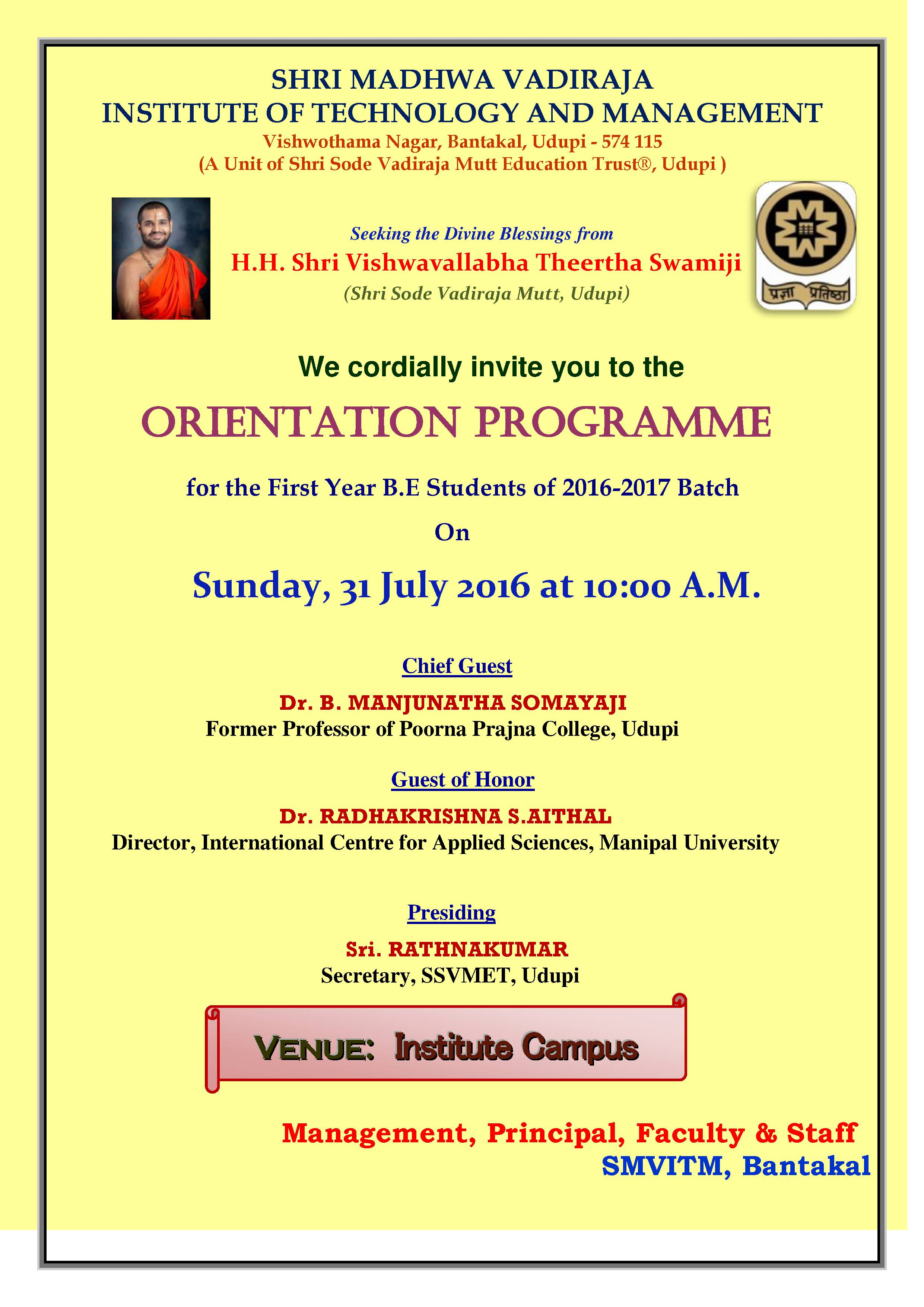 orientation day for first year be students